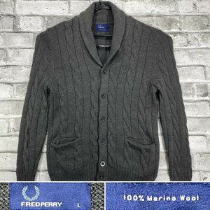Fred Perry Sz Large Gray Merino Wool Knit Cardigan